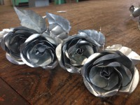Sheet metal roses ready for sale