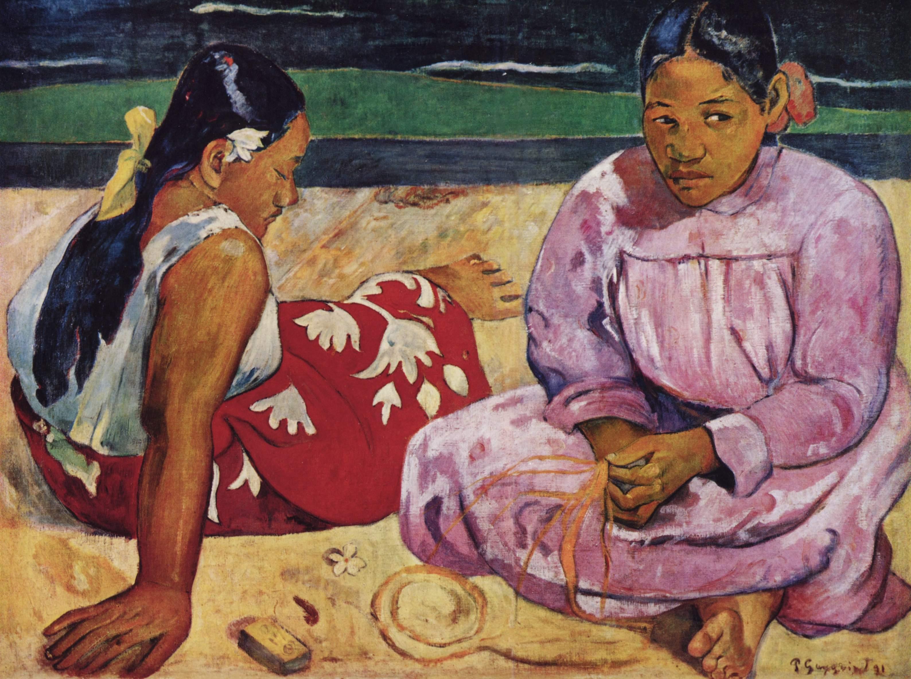 "Paul Gauguin's ""Tahitian Women on the Beach"", 1891."
