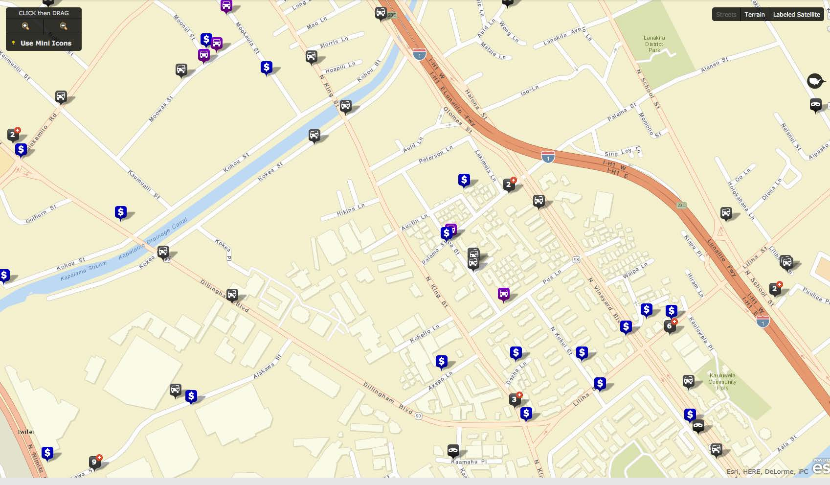 This map from Honolulu Police Department shows all the reported crimes in our neighborhood for the month of January. The campus is at the center of the map.