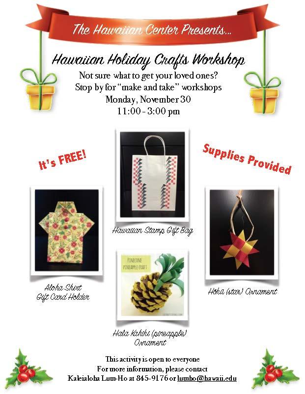Hawaiian Holiday Workshop Flyer
