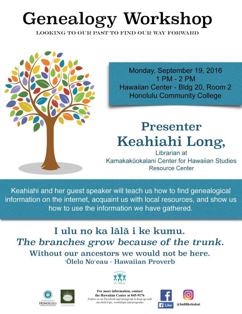 Genealogy Workshop Flyer 9-19-16