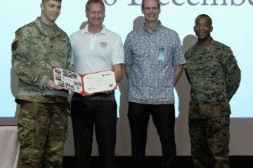 L-R: SPC Thayne Szepi, Mr. Thomas Hall (Solar Ready Vet Instructor), Mr. Steve Auerbach (Honolulu Community College), Lt. Col. Michael Brooks